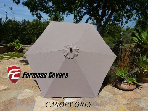 """9ft Umbrella Replacement Canopy 6 Ribs in Taupe (Canopy Only) by Formosa Covers. $19.99. 300 denier polyester fabric with UV treated and water repellent.. Fits 6 ribs umbrella frame. EACH rib must measure 52"""" to 54. 9ft umbrella replacement canopy for 6 ribs umbrella in Taupe. Replacement umbrella CANOPY ONLY for 9ft 6 ribs  -Fits 6 ribs umbrella frame, ribs from 52"""" to 54"""" -300 denier polyester with UV treated and water repellent -Actual Weight: about 4 pounds -Rei..."""