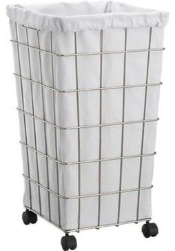 Wire Hamper with White Liner Set contemporary hampers from crate and barrel