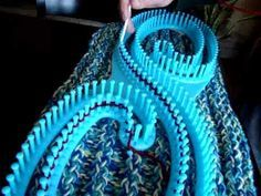 Infinity loom knitting. You can make a 10' blanket with this!