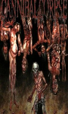 "In history we read an article about slaughterhouses in the 1800s.... im totally against what they do to these animals... but all the gore was completely grossing everyone out.. then there i am.. thinking, ""what a bunch of babies""... But anyway... Cannibal Corpse"