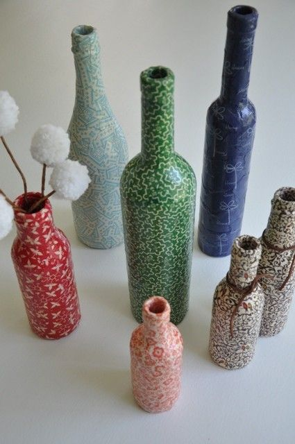 upcycled bottle vases #craft #patterns #diy