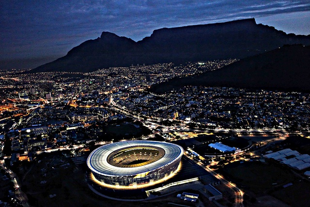 Great view of Cape Town Stadium backed by Table Mountain, South Africa...
