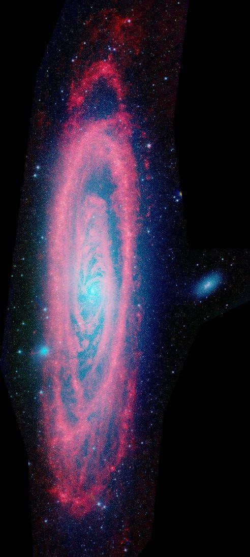 Esta amplia y detallada vista del Telescopio Espacial Spitzer cuenta con luz infrarroja de polvo (rojo) y las estrellas viejas (azul) en Andrómeda, una galaxia masiva espiral tan sólo 2.5 millones de años-luz de distancia de la Tierra
