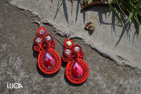 Red soutache earrings by LuciaProducts on Etsy