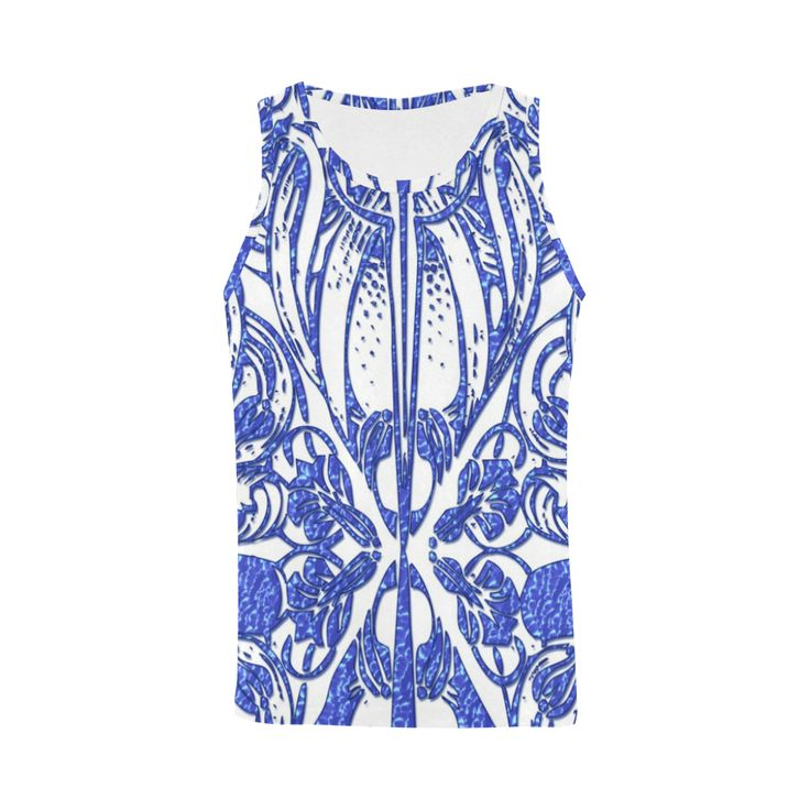 Lace Blue All Over Print Tank Top for Men (Model T43)