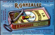 Antiguo anuncio de LA ARENESCA, fábrica de conservas de R. González en San Juan de la Arena