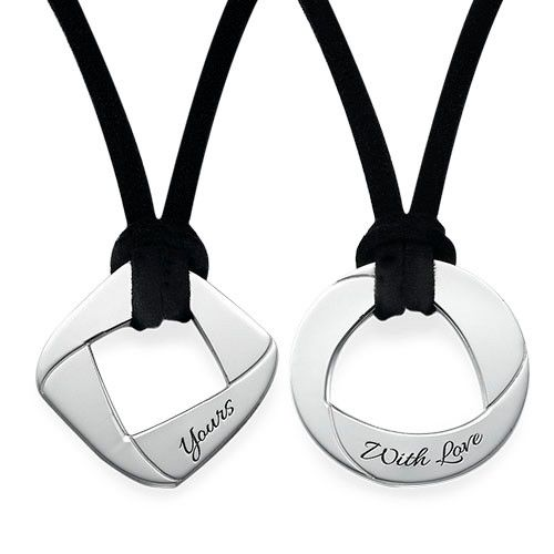 Want a cool set of matching necklaces for couples you can wear with your significant other? Then you should check out our Engraved Couple Set with Suede Cord We love these fun shaped necklaces for couples and so will you! To make these necklaces extra special, you can engrave any name or word you want on each pendant. Not only that, but you can choose what color you would like for the suede cord, adding an extra touch of personalization. If you need a ...