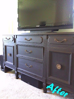 Thrift Store Dining Room Buffet Hutch Turned Entertainment Center That Hides All The Crap