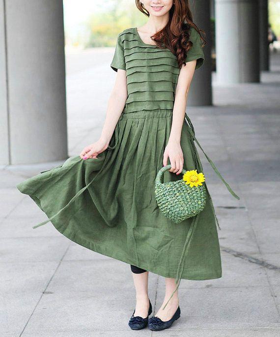Olive Linen Green Dress / Vestido de tirantes vestido de dama de Tiered - Hecho por encargo