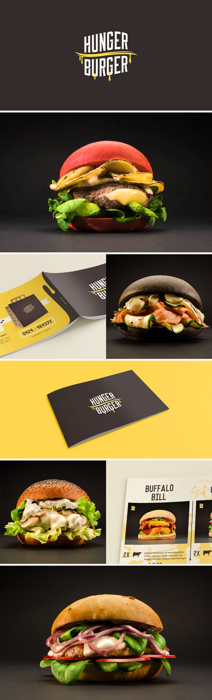Hunger Burger branding | www.ofmagnet.com #graphic #design #logo #photo #burger #menu #pub #burgerhouse #food #tasty #ofmagnet #asiago