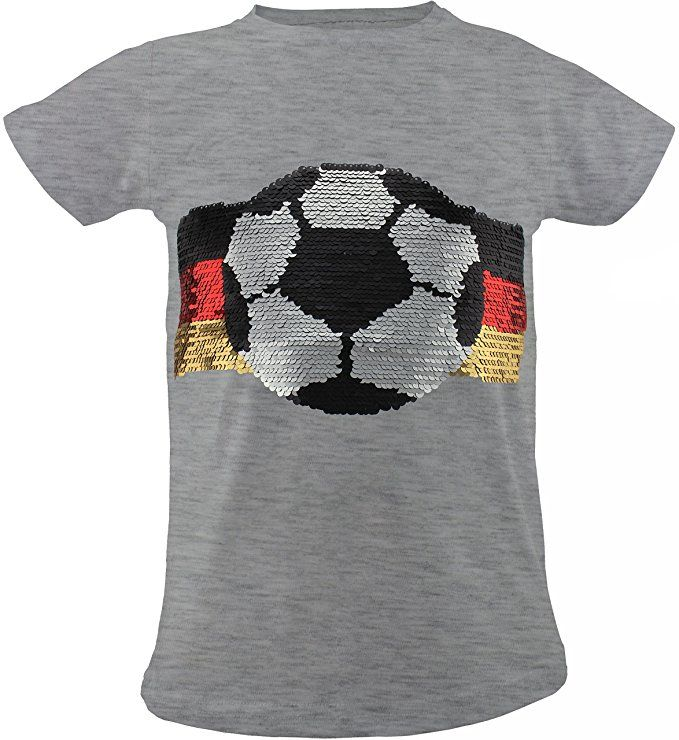DEUTSCHLAND Kinder T-Shirt Wende Pailletten Fussball WM EM 2020 Fan Shirts Top