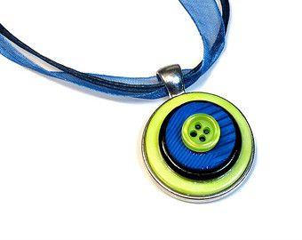 Botón colgante collar de búho lindo botón collar por BluKatDesign