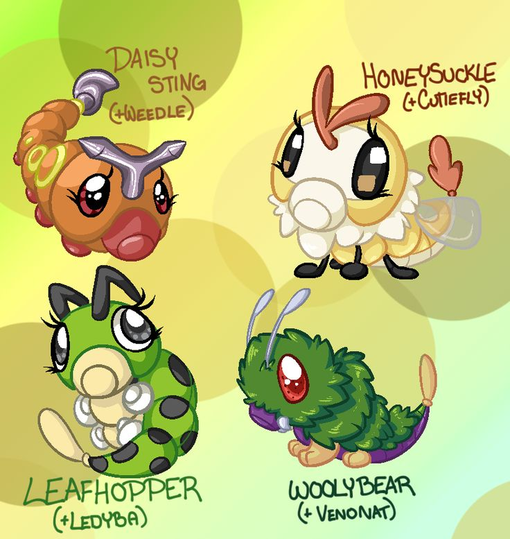 "paintsplatteredponies: ""Help, I'm addicted to making variants. All these cuties are in the Bug Egg Group. Weirdly enough, that egg group is almost exclusively bug-type pokemon. [Some exceptions..."
