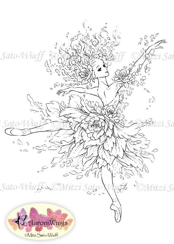 Instant Download - Digital Stamp - Ballet - Flower Ballerina- digistamp - Dance Pointe - Fantasy Line Art for Cards & Crafts