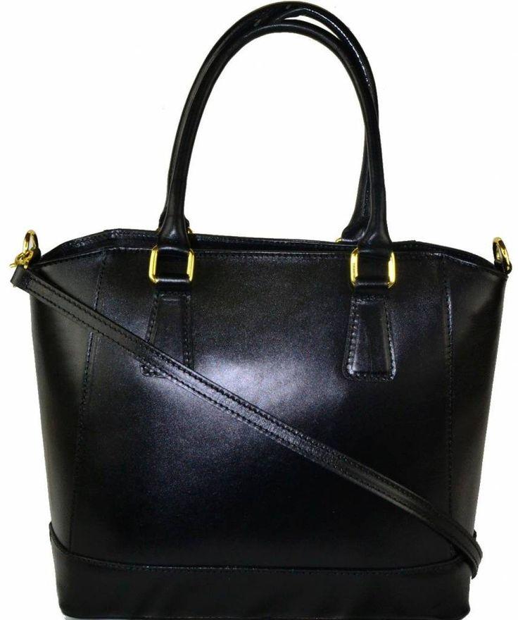 Handtas van kalfsleer met verstelbare schouderband zwarte kleur