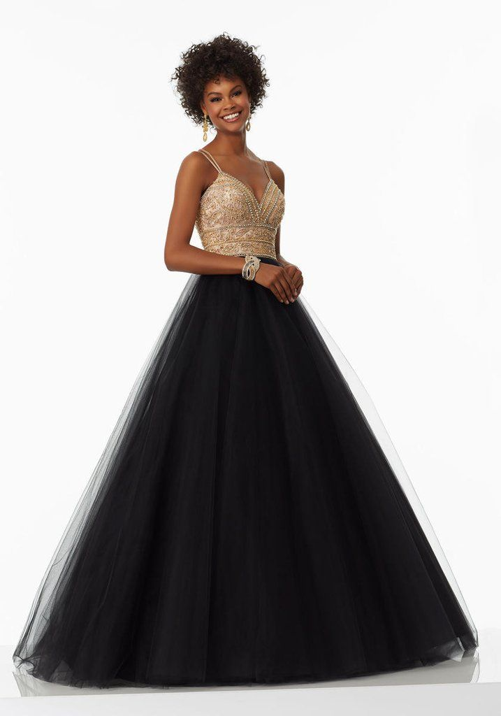 Mori Lee Prom dress #99012 Black and gold ball gown sz 10