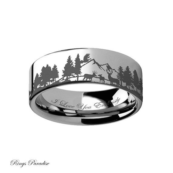 Tungsten Wedding Band, Promise Rings,Personalized Animal Landscape Scene Reindeer Deer Stag Mountain Range Ring Engraved Flat Tungsten Ring