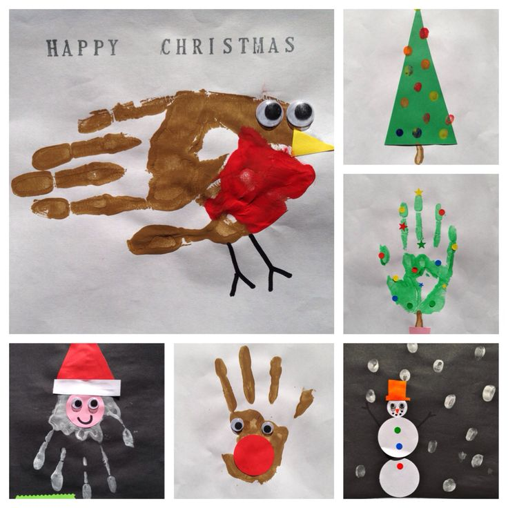 Hand Print Christmas Card Ideas For Children's Craft