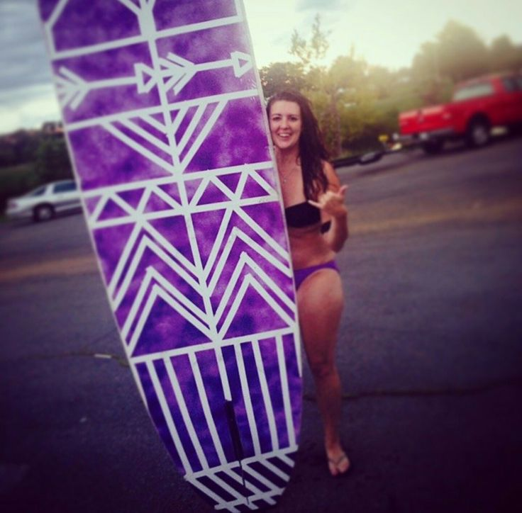 My DIY custom paddle board... I used waterproof spray paint, masking tape and my imagination. #SUP #tribal #DIY