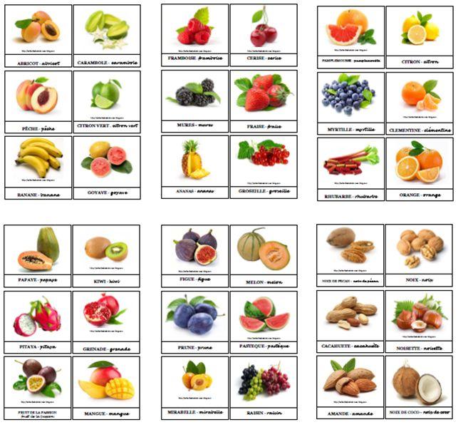 Cartes de nomenclatures fruits à imprimer et plastifier ! 7 planches PDF de 6 fruits - Je rappelle qu'elles sont à votre disposition pour un usage personnel , mais qu'elles ne peuvent être diffusées sur internet en dehors de mon blog! Merci ! /ob_906644_fruits-carambol-citron-goyave-banane-p.pdf...