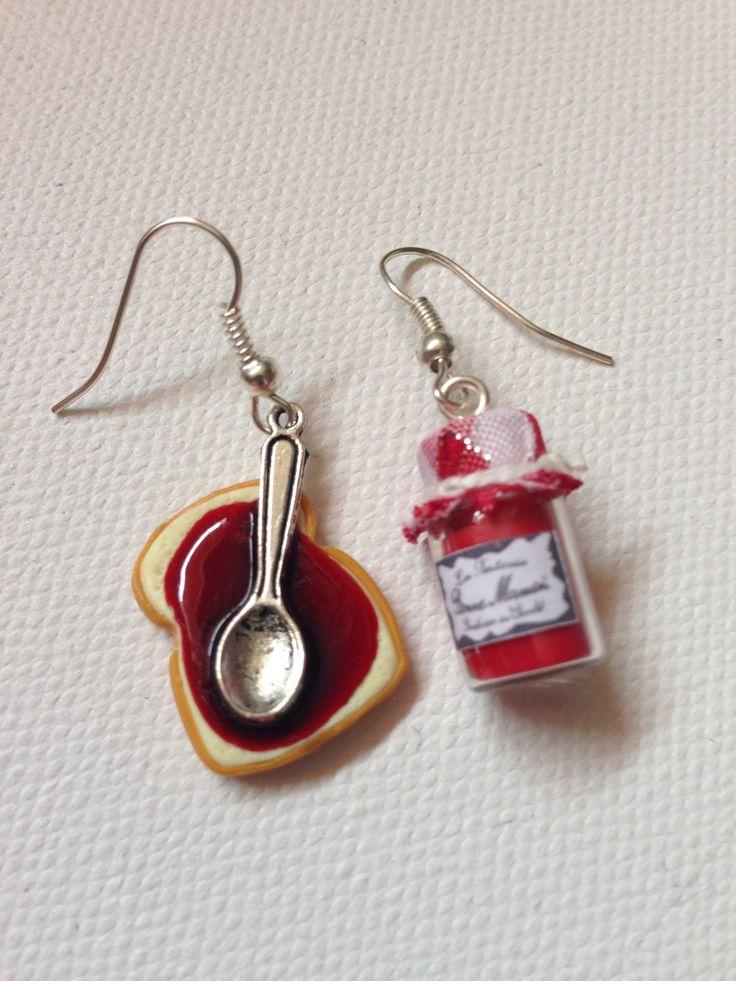 """Boucles d'oreilles """"tartine et confiture"""" en fimo : Boucles d'oreille par sidofimo-creation"""