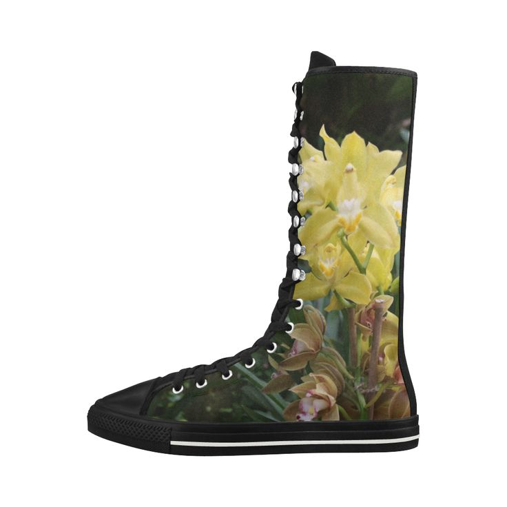 Yellow Orchids Canvas Long Boots For Women Model 7013H