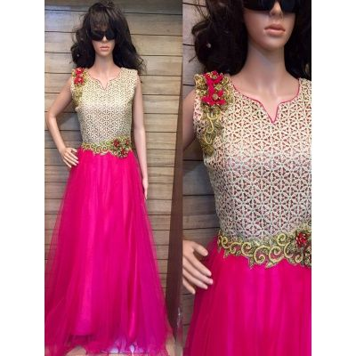 Designer Embroidery Work With Sequence Work And Stylist Neckline with pink color…