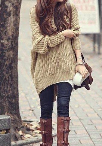 Bayan Giyim-Yazlık-Kışlık Kıyafetler-Kazak-Çizme-Soğuk Kahve