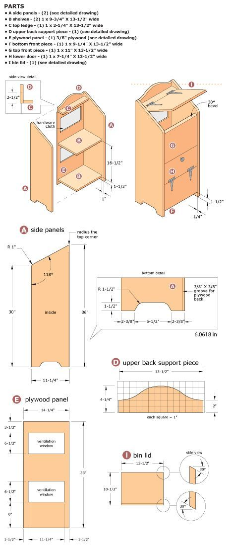 More plans for potato bin. Someone make this for me.: