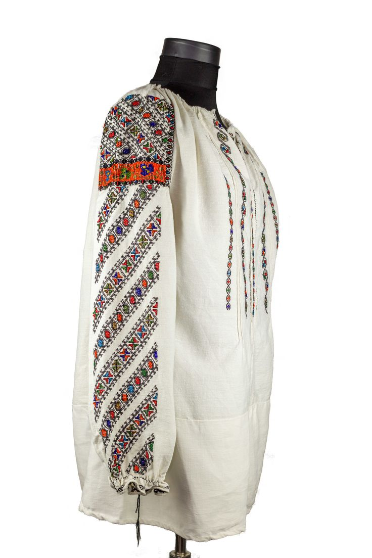 Beads Embroidered Blouse Antique 1900's Romanian Folk TopFolkage