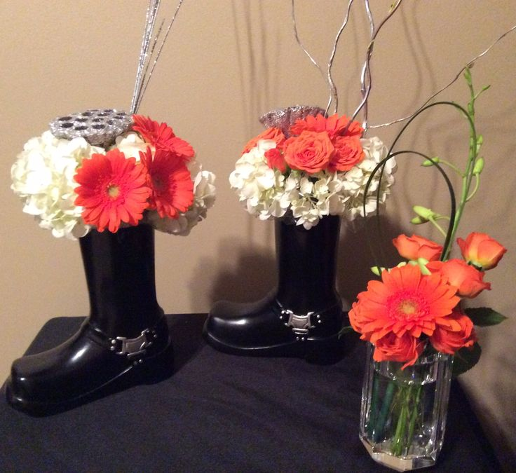 Harley Davidson Theme Flowers Orange Amp Silver Floral Designs In Black Boot Vase Containers