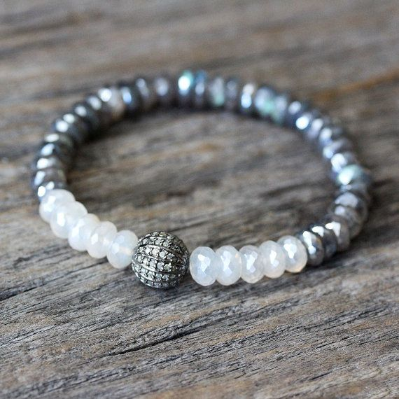 Diamond Labradorite Moonstone Bracelet / Metallic Fire Beadwork, Blue Grey Black Pearl White Shine, Boho Luxury Pave, June Birthstone by byjodi on Etsy