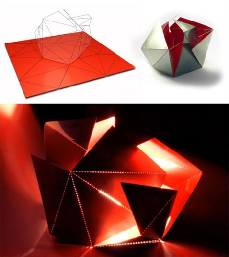A sheet of stainless steel comes with pre-scored lines that, once folded, create an interesting geometric housing for a lamp. The ultimate shape of the lamp depends on the order in which you create your folds, giving you creative control over the result.