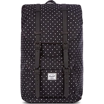 Herschel polka dot £95 at Selfridges http://www.selfridges.com/en/Bags/Categories/Shop-Travel-Luggage/Backpacks/Little-America-polka-dot-backpack_193-1000201-1001400216OS/?previewAttribute=Black+polkadot