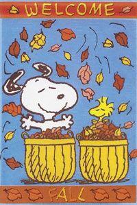 Welcome Fall Snoopy Garden Flag 12x18