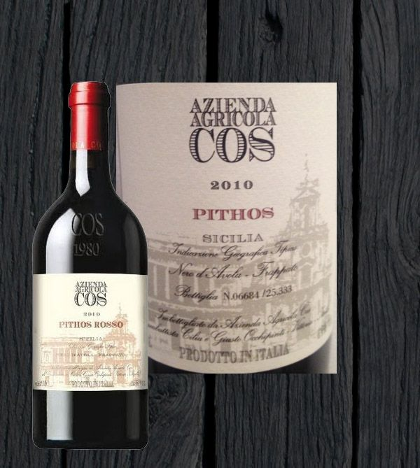The third Mr. Alessi wine tip is about a Sicilian Wine. PITHOS ROSSO IGT 2010 Winery: Cos Azienda Agricola Grape variety:	Nero D'Avola e Frappato Region:	Italy Sicily Colour:	Red Wine Capacity: 750 ml Grade: 12 Classification: IGT Price: Euro 19,26