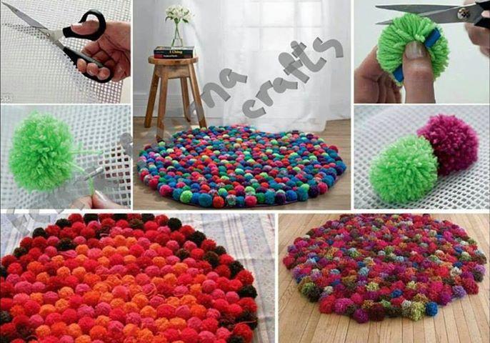 tapis pompon pompons en folie pinterest. Black Bedroom Furniture Sets. Home Design Ideas