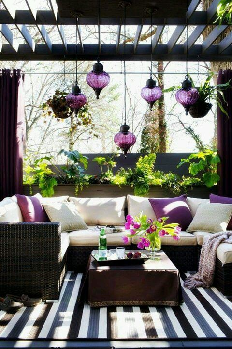 These stylish radiant orchid accessories look great in an outdoor patio area. #colour #style