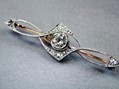 Vintage 14k Yellow Gold Platinum and Diamond Brooch from A Private Collection   eBay