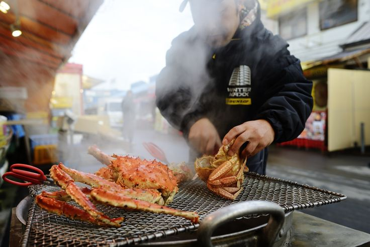 Crabs on the grill at Hakodate Morning Market