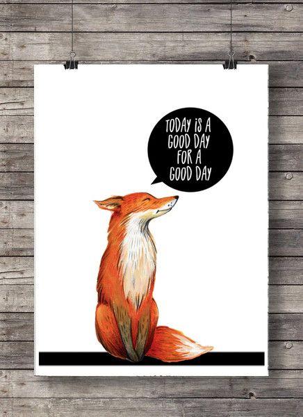 Wandgestaltung – Print Good day Fuchs A4 – ein Designerstück von japples bei Da…