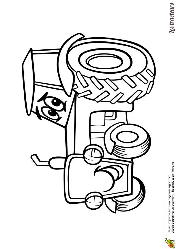 Coloriage d un petit tracteur de dessins anim s - Tracteur rigolo ...