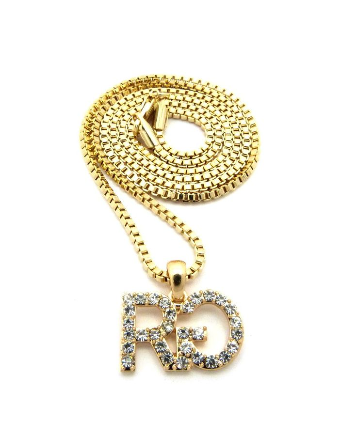 Men's Iced Out Rich Gang Chain Pendant Gold - Bling Jewelz