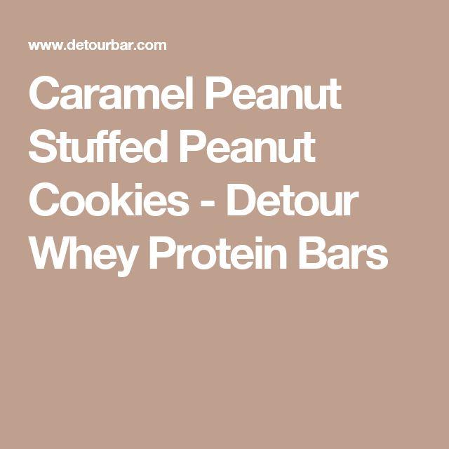 Caramel Peanut Stuffed Peanut Cookies - Detour Whey Protein Bars