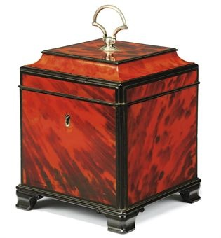 ANTIQUE GEORGE III TORTOISESHELL AND EBONY-VENEERED TEA-CADDY,  LATE 18TH OR EARLY 19TH CENTURY