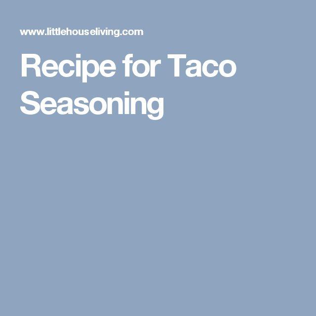 Recipe for Taco Seasoning