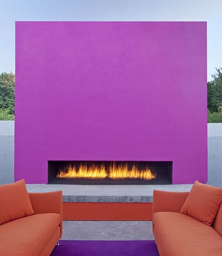 Outdoor fireplace - but in more neutral colors