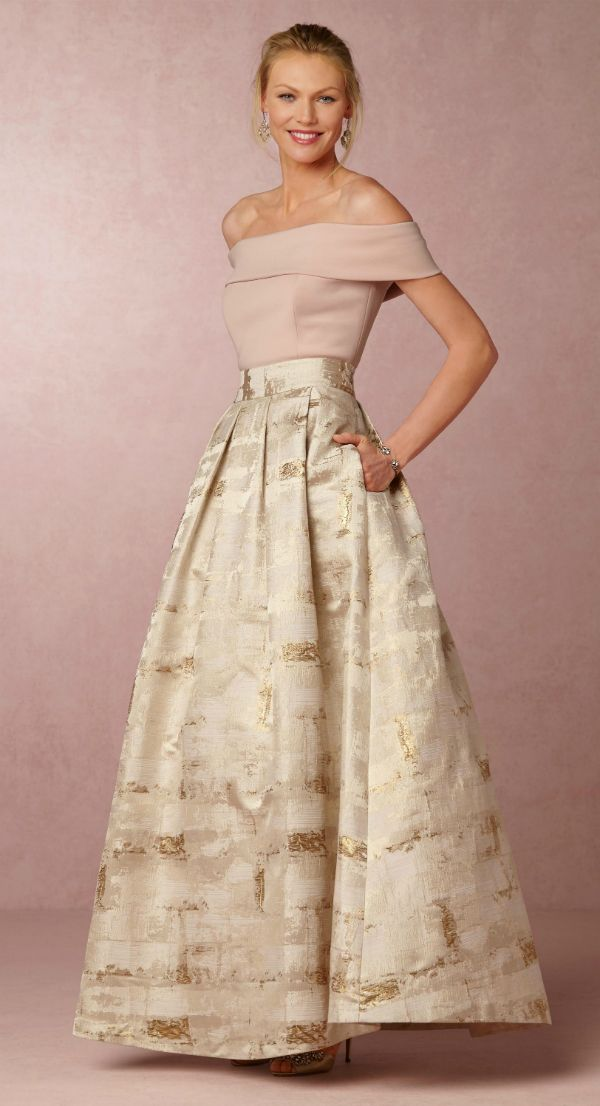 Blush top and gold skirt | Sofie top and skirt from @BHLDN