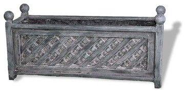 Lattice Rectangular Planter, Charcoal, 36x14x17