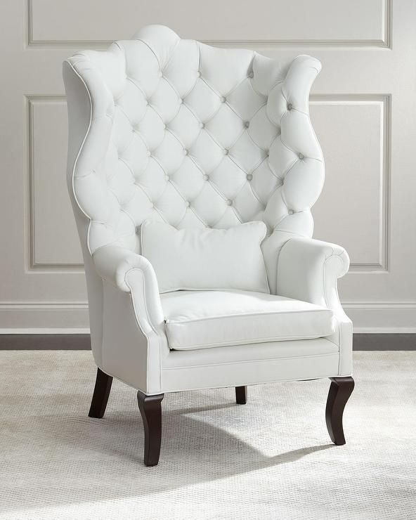Seating   Gorgeous Leather Wing Chair Is A Lovely Leather Accent To A Light  Open Minimalistic Room Featuring Ornate High Wing Back With Rolled Arms And  ...
